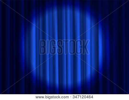 Stage Blue Curtain. Theatrical Or Cinema Cloth Luxury Silk Elegant Closed Curtains With Spotlight Ve