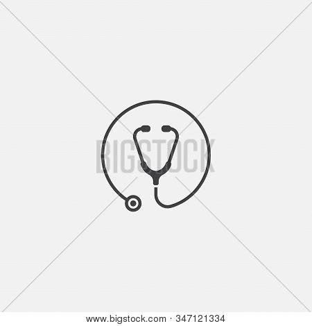 Medical Icon Vector Illustration, Stethoscope Vector Icon In Trendy Flat Design, Vector Illustration