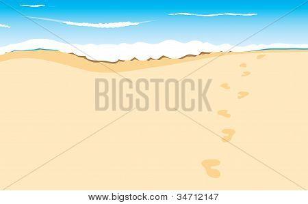 footprints on sand beach