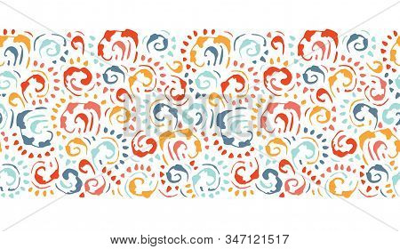 Artistic Baroque Hand-drawn Colorful Vintage Vector Seamless Horizontal Pattern Border On White Back
