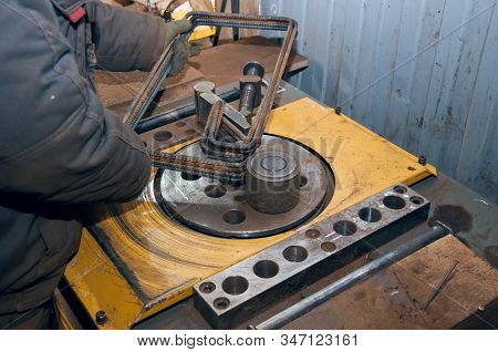 Equipment For Bending Steel Rods At A Construction Site. Equipment For Construction. The Rebar Bend