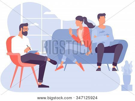 Flat Design Vector Concept For Psychotherapy Session. Patient With Psychologist, Psychotherapist Off