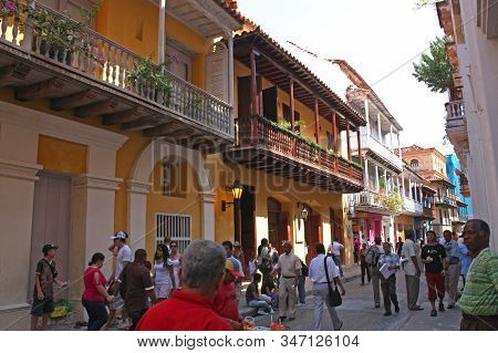 Cartagena- Jan 14, 2012: People In Street Of Walled City In Cartagena, Colombia. Historic Center, Th