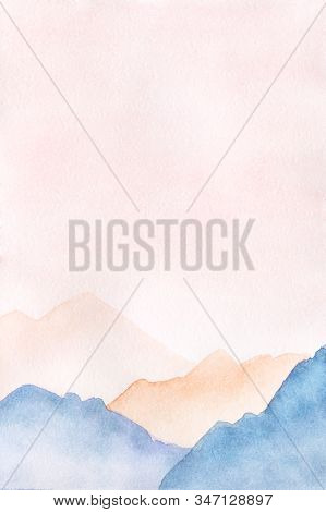 Hand Drawn Watercolor Painting Of Pink Sunset Foggy Mountains