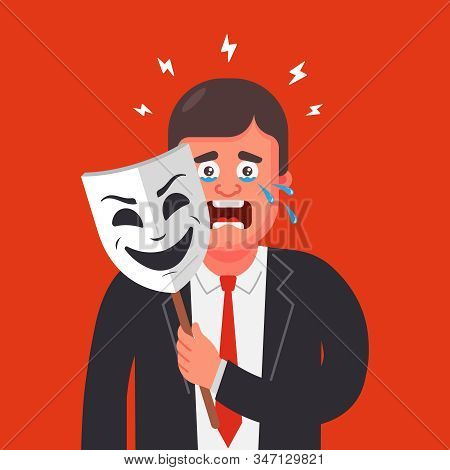 A Man In A Suit Hides His Emotions Behind A Mask. Hide Tears. Flat Character Vector Illustration.