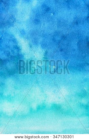 Sky Blue Watercolor Abstract Background. Gradient Fill. Hand Drawn Texture. Piece Of Heaven.