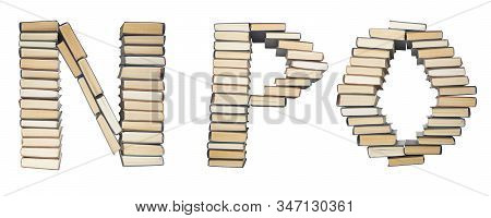 N P O Letter From Books. Alphabet Isolated On White Background. Font Composed Of Spines Of Books
