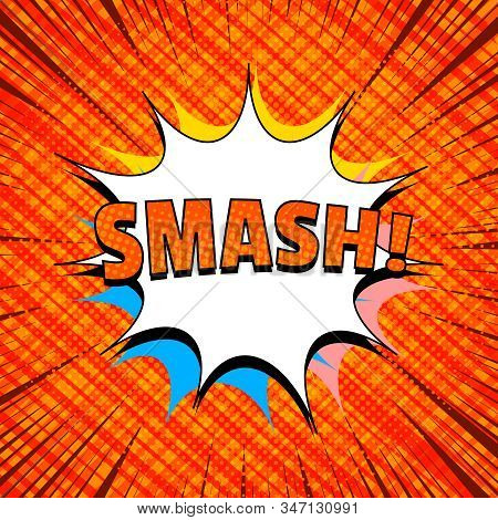 Comic Light Orange Template With Smash Wording Speech Bubbles And Different Humor Effects. Vector Il