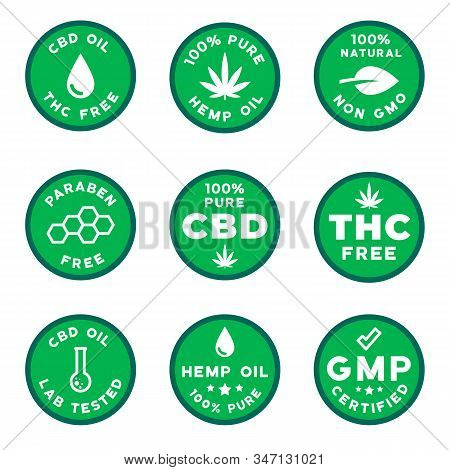 Set Of Cbd Themed Logotypes Gmo Free Gmp Certified Cbd Oil Logos, Thc Free, Paraben And Pesticides F