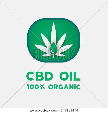 Cbd Oil Icon With Cannabis Leaf. Medical Cbd Oil Logotype.