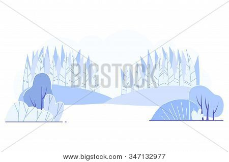 Cold Lifeless Valley Landscape Vector Illustration. In Center Forest-steppe Zone Blue On White Backg