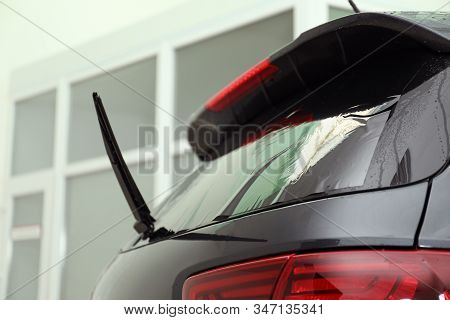 Car Window Covered With Tinting Foil, Closeup