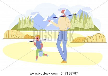 Grandfather And Grandson Going Fishing With Rods At Sunny Summer Time Day On Mountain Landscape Back