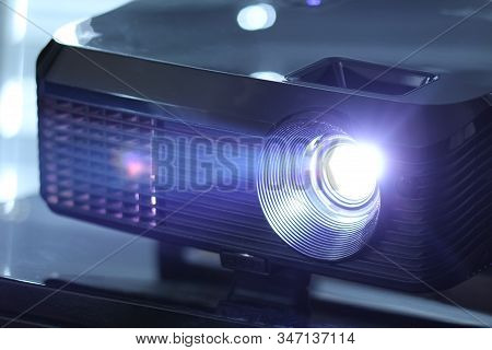 Beamed Light Shining With A Bright Beam. With White And Purple Color