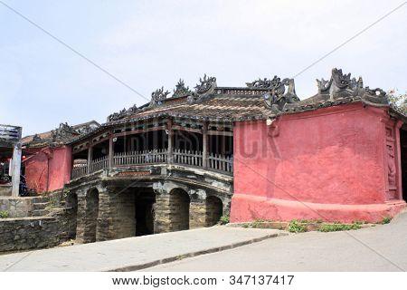 Famous landmark - old Japanese Bridge  (Cau Chua Pagoda) in Hoi An, Vietnam. UNESCO World Heritage Site