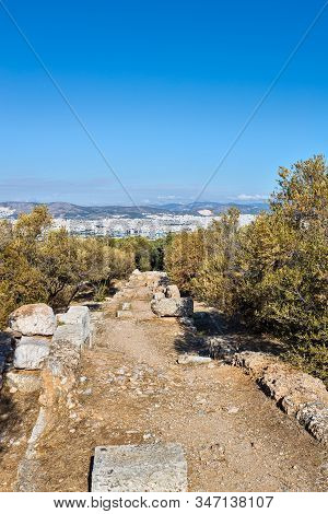 Ancient Stone Road Of Filopappou Hill In Athens Greece