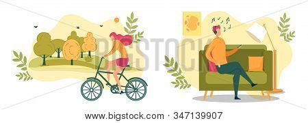 Cartoon Woman Ride Bicycle In Park Vector Illustration. Man In Headphones Sit On Couch Listen Music