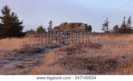 Path Leading Towards A Rock On Mountain Meadow. Pecny (1330 M), Jeseniky, Czech Republic. November 2