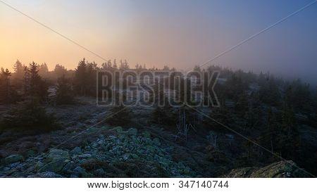 Mountain Meadow In Morning Fog Just After Sunrise, Pecny (1330 M), Jeseniky, Czech Republic