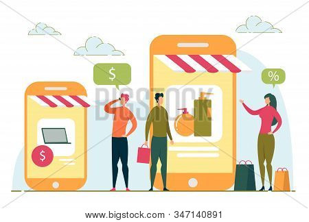 Online Shopping And Internet Purchasing With People, Customers Cartoon Characters Buying Goods Throu