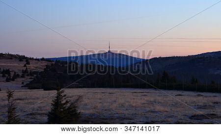 Praded Transmitter Just Before Sunset, Jeseniky, Czech Republic. Taken From Pecny (1330 M). November