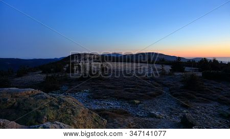 Meadows On Mountain Ridge Just Before Sunrise With Praded Transmitter In The Background, Pecny (1330