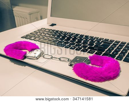 Santa Sexy Funny Furry Handcuffs Cosplay, Colored Toy. Metal Handcuffs, Red Fabric Wrapped. Computer