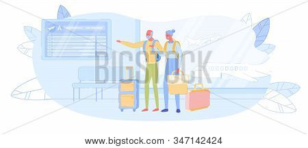 Mature Tourists Traveling. Senior Couple In Airport Waiting Boarding On Airplane. Elderly Characters