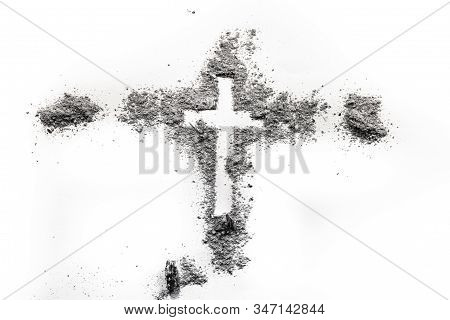 Christian Religion Cross Crucifix Made In Ash As Lent Period, Ash Wednesday, Jesus Christ Scrifice C