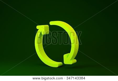 Yellow Refresh Icon Isolated On Green Background. Reload Symbol. Rotation Arrows In A Circle Sign. M