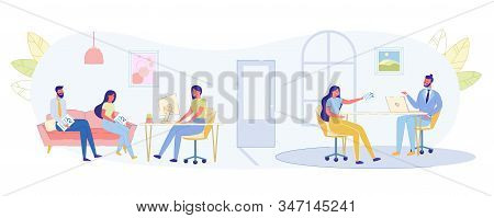 Communication With Company Customers In Office. In Spacious Building Company, Two Interviews Simulta