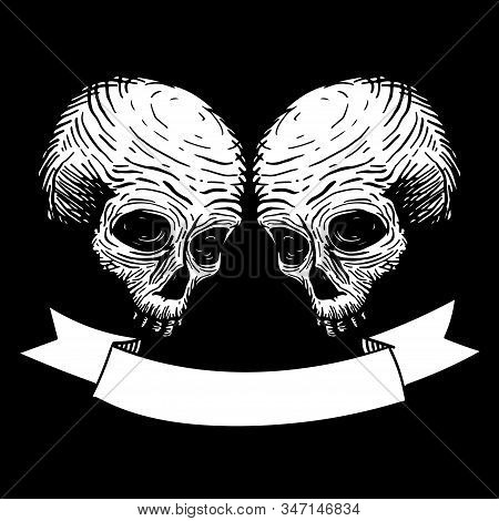 Two Skulls With Ribbon For Text. Vector Hand Drawing Illustration.