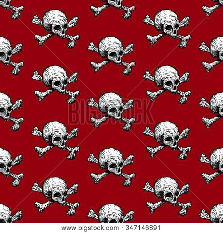 Seamless Pattern With Skulls And Bones On A Red Background. Vector Hand Drawing Illustration