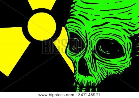 Banner Template With Skull Of A Dead Man And Place For Text, With A Warning About Radiation And Toxi