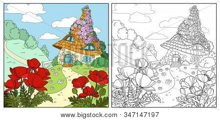 Summer Fairytale Home Twined With Roses With Poppy Flowers In The Foreground Color And Outlined Isol