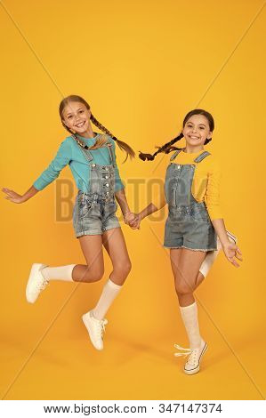 Children Ukrainian Young Generation. Patriotism Concept. Girls With Blue And Yellow Clothes. Freedom