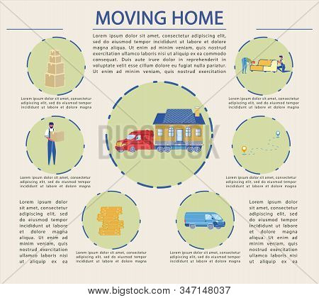 Flat Illustration, Successful Moving Home, Cartoon. Large Container Ship Transports Entire House. Ma