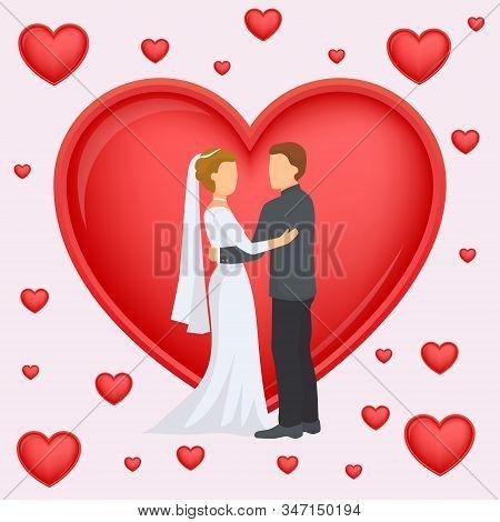 Wedding Couple Of Newlyweds On Background Of Big Heart Vector Illustration. Wedding Love Happy Congr