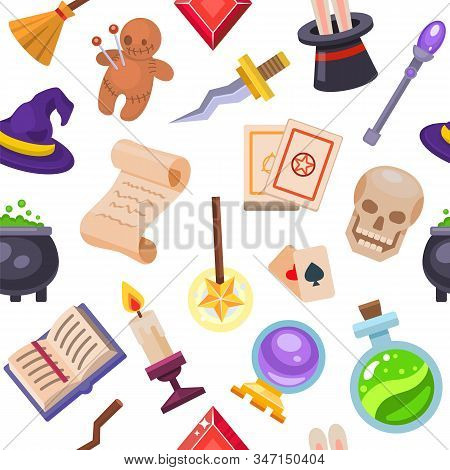 Magic Fantasy Tools Set Collection Vector Illustration Seamless Pattern. Mystery Fairytale Circus Il
