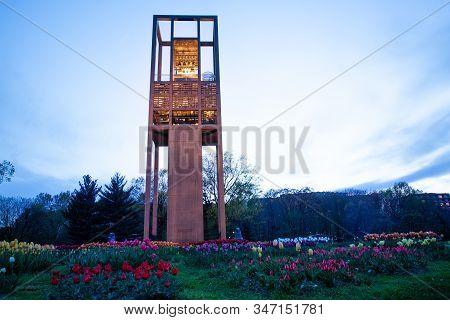 Arlington, Va - April 27, 2018: Netherlands Carillon Monument Near To Arlington National Cemetery Wi