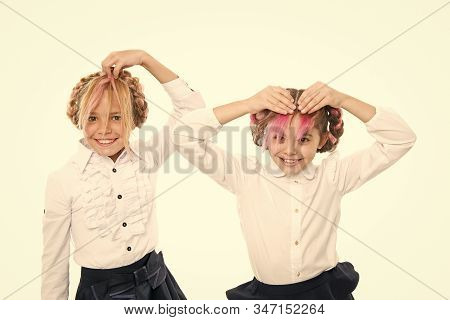 Fancy Hairstyles. Cute Little Children Styling Funny Hairstyles Isolated On White. Adorable Small Gi