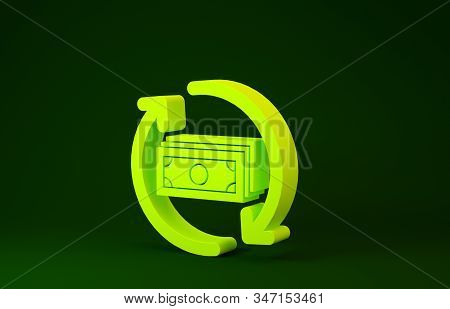 Yellow Refund Money Icon Isolated On Green Background. Financial Services, Cash Back Concept, Money