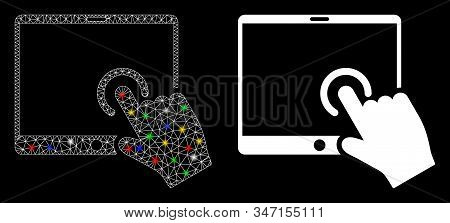 Glossy Mesh Hand Touch Pda Icon With Glare Effect. Abstract Illuminated Model Of Hand Touch Pda. Shi