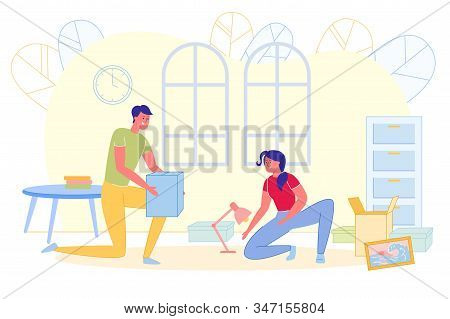 Bright Poster, Girl Moved To Boyfriends House. Couple Unpacks Boxes With Things In Living Room. Room