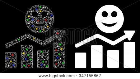 Glowing Mesh Smile Positive Trend Icon With Glow Effect. Abstract Illuminated Model Of Smile Positiv
