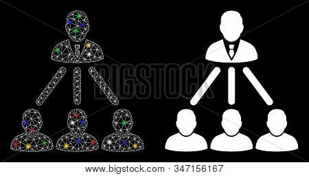 Glowing Mesh People Organization Structure Icon With Glow Effect. Abstract Illuminated Model Of Peop