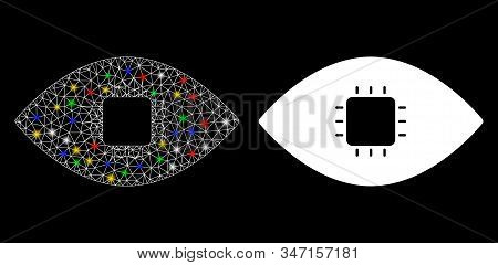 Glowing Mesh Chip Eye Retina Icon With Glare Effect. Abstract Illuminated Model Of Chip Eye Retina.