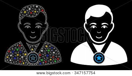 Glossy Mesh Champion Icon With Glitter Effect. Abstract Illuminated Model Of Champion. Shiny Wire Fr