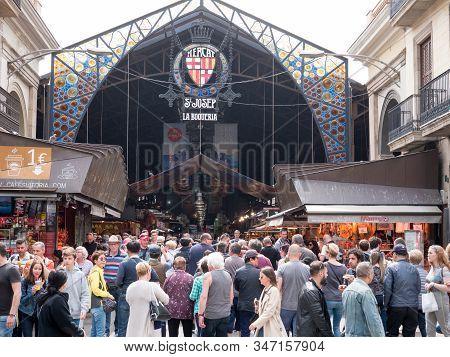 Barcelona, Spain - May 2019. The Mercat De Sant Josep De La Boqueria, A Typical Spanish Market In Ba