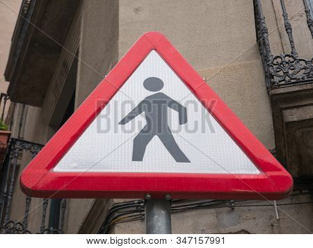 Pedestrian Sign In The City Of Barcelona, Catalunya, Spain, Europe